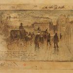 Félix Hilaire Buhot (1847-1898), Convoi funèbre au boulevard de Clichy, 1887, eau-forte, aquatinte et encre, collection Gérard Jouhet