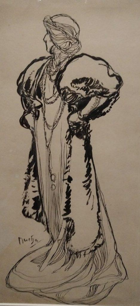 Dessin de Mucha représentant Sarah Bernhardt.