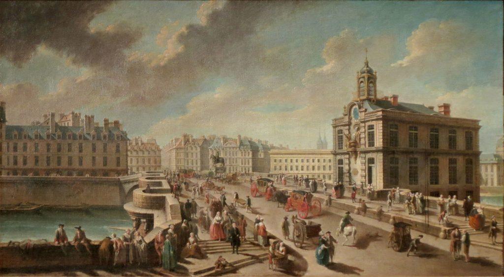 Tableau représentant la pompe de la samaritaine sur le pont neuf. Il s'agit d'une huile sur toile.