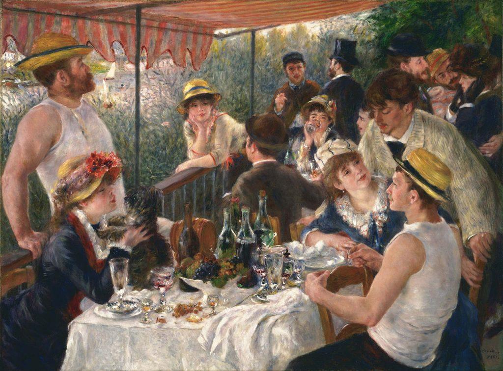 il s'agit d'une représentation du Déjeuner des canotiers de l'artiste Renoir. Cette toile montre des gens en train de déjeuner et de s'amuser.