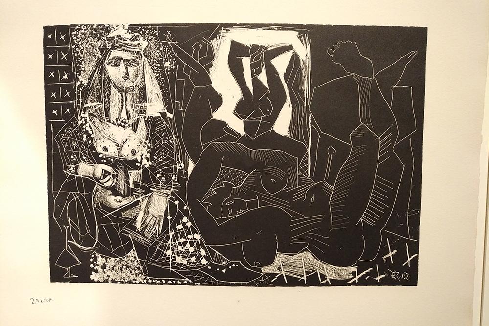 Il s'agit d'une œuvre de Picasso : Les Femmes d'Alger d'après Delacroix, 1955. Cette œuvre représente un harem.