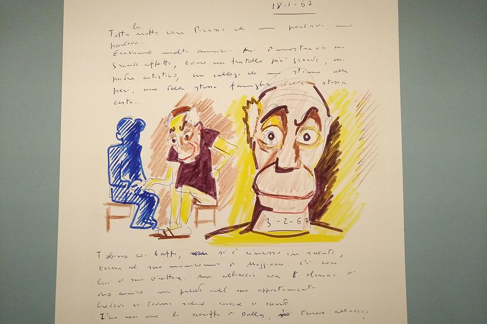 Livre des rêves de Fellini, avec un portrait de Picasso. Il s'agit du journal des rêves du cinéaste italien.