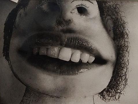 Cette œuvre représente un gros plan sur une bouche. L'artiste a utilisé de l'encre pour créer un visage grotesque à partir de cette bouche : les trous du nez sont ainsi les yeux. Autour des cheveux ont été dessinés.