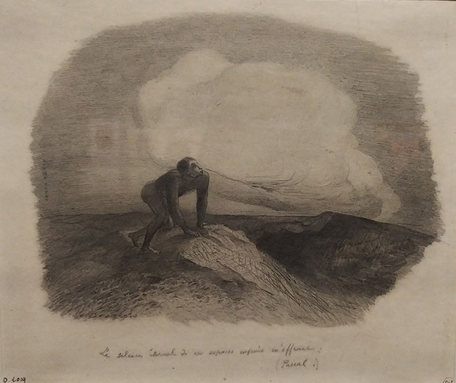 """L'artiste Odilon Redon a dessiné un homme préhistorique nu observant le ciel. Sous le dessin, on peut lire une citation de Pascal """"Le silence éternel de ces espaces infinis m'effraie. Le dessin réalisé vers 1870 est conservé au Petit Palais (Paris)."""