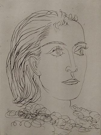 Il s'agit ici d'un portrait dessiné de Dora Maar réalisé par Picasso en 1937.