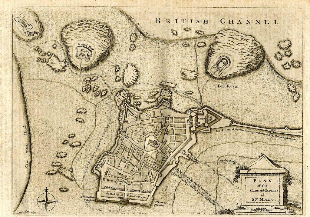 Il s'agit d'une carte ancienne où on voit le plan de la ville de Saint-Malo.