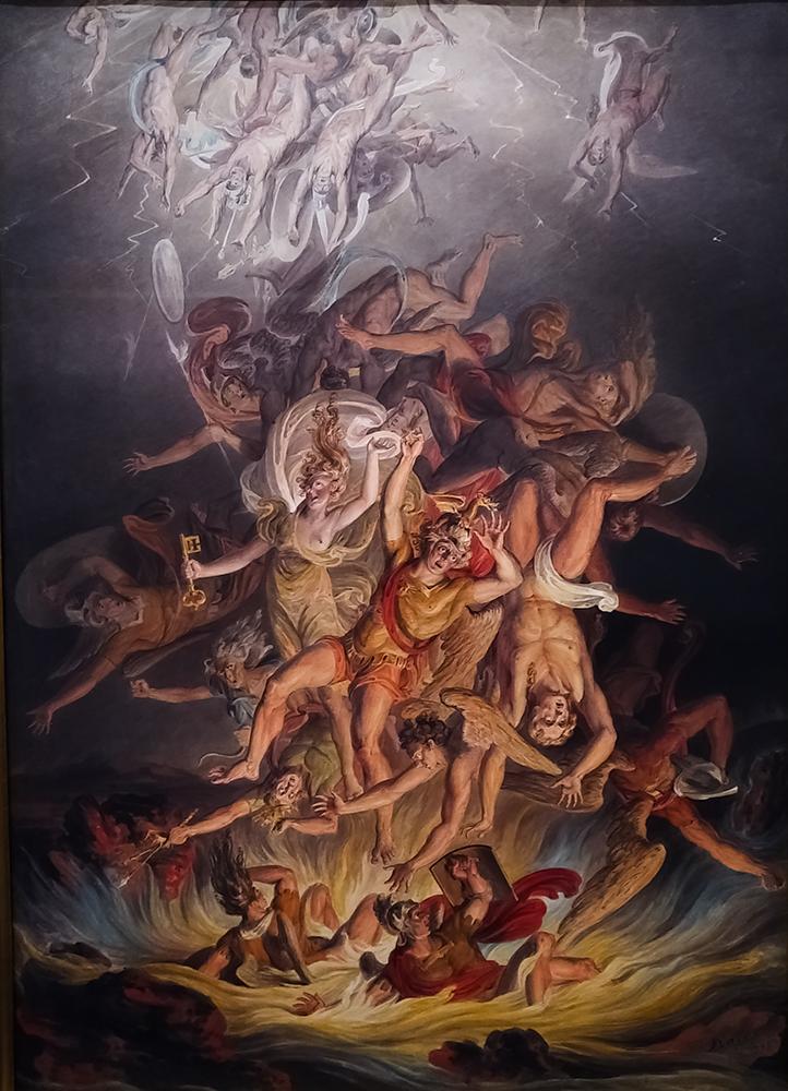 Le tableau représente la chute d'anges dans un effet spectaculaire. Les corps tombent violemment au sol.