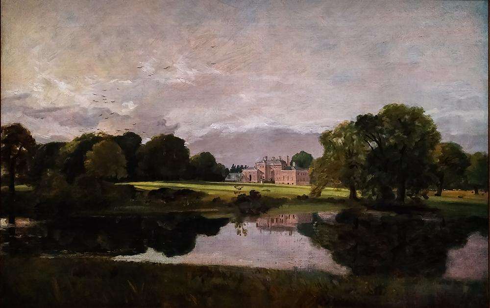 Il s'agit d'un paysage : au premier plan un lac et au fond un château.