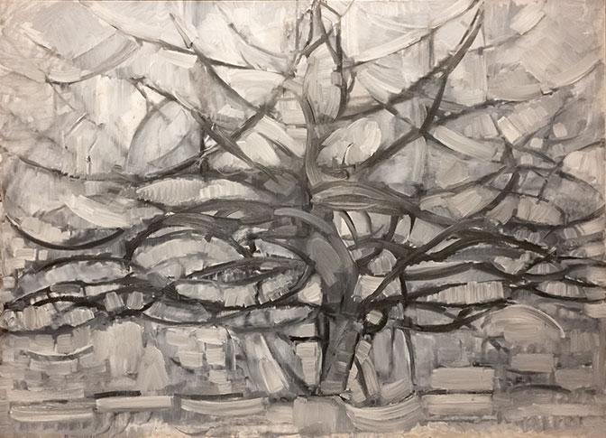 Représentation simplifiée d'un arbre, le tout sur un fond gris.