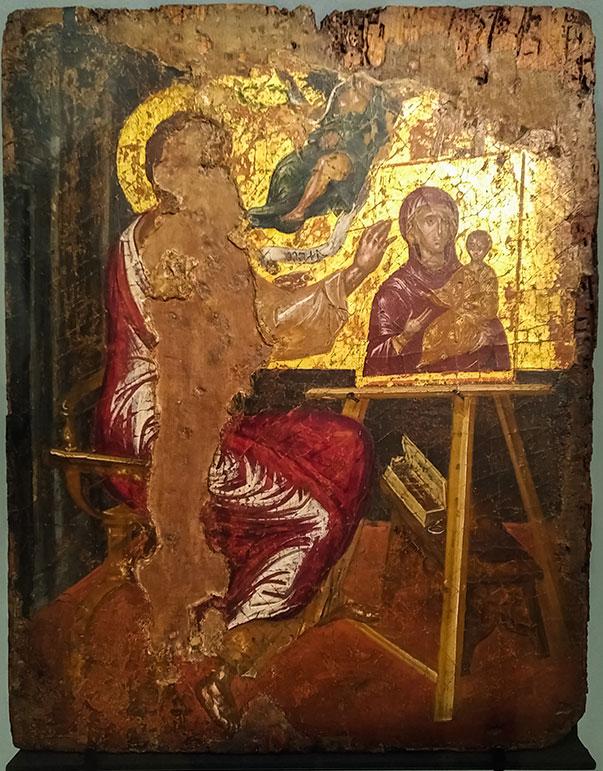 L'icône dorée et peinte représente saint Luc peignant la Vierge.