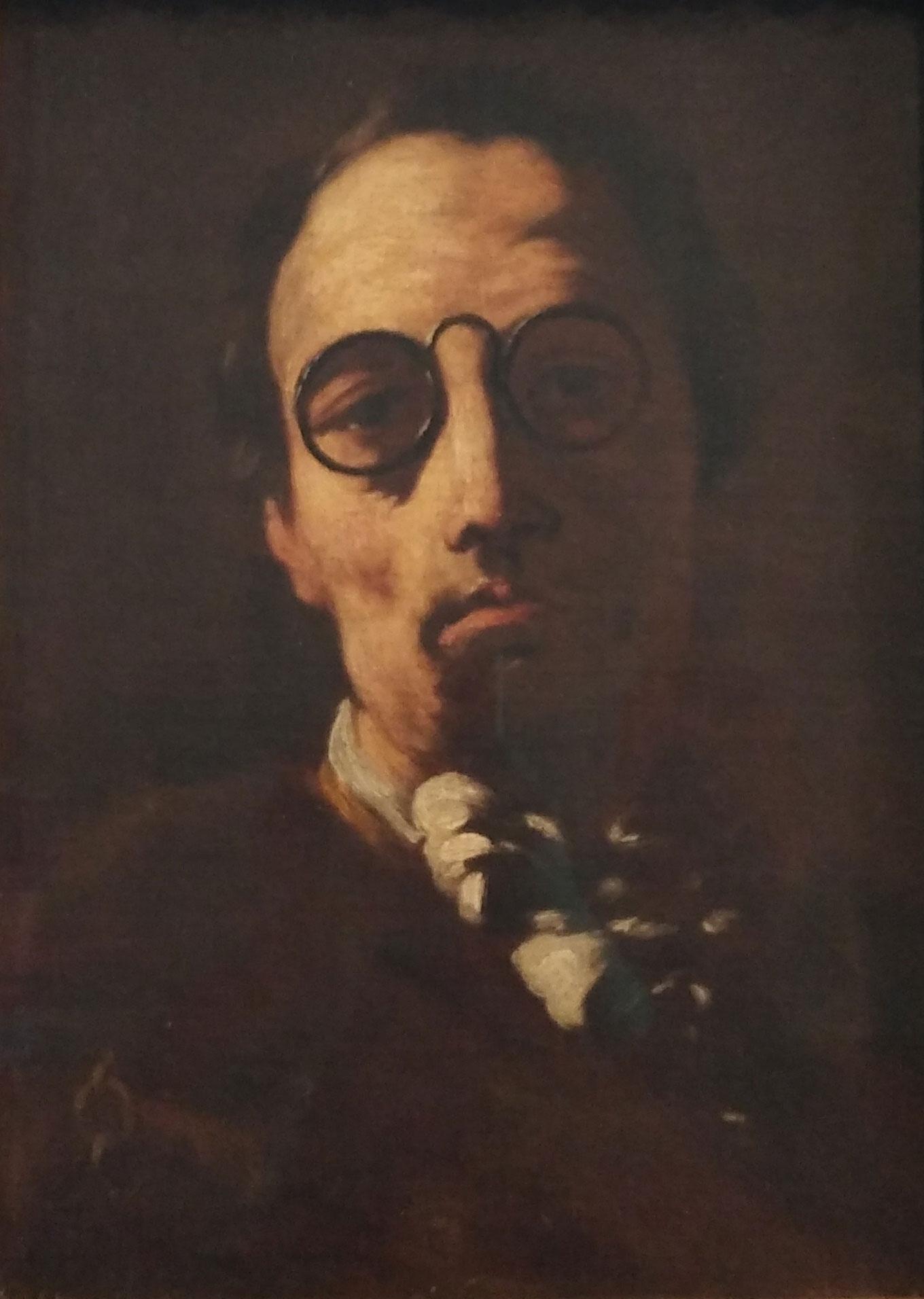 autoportrait de l'artiste avec des lunettes