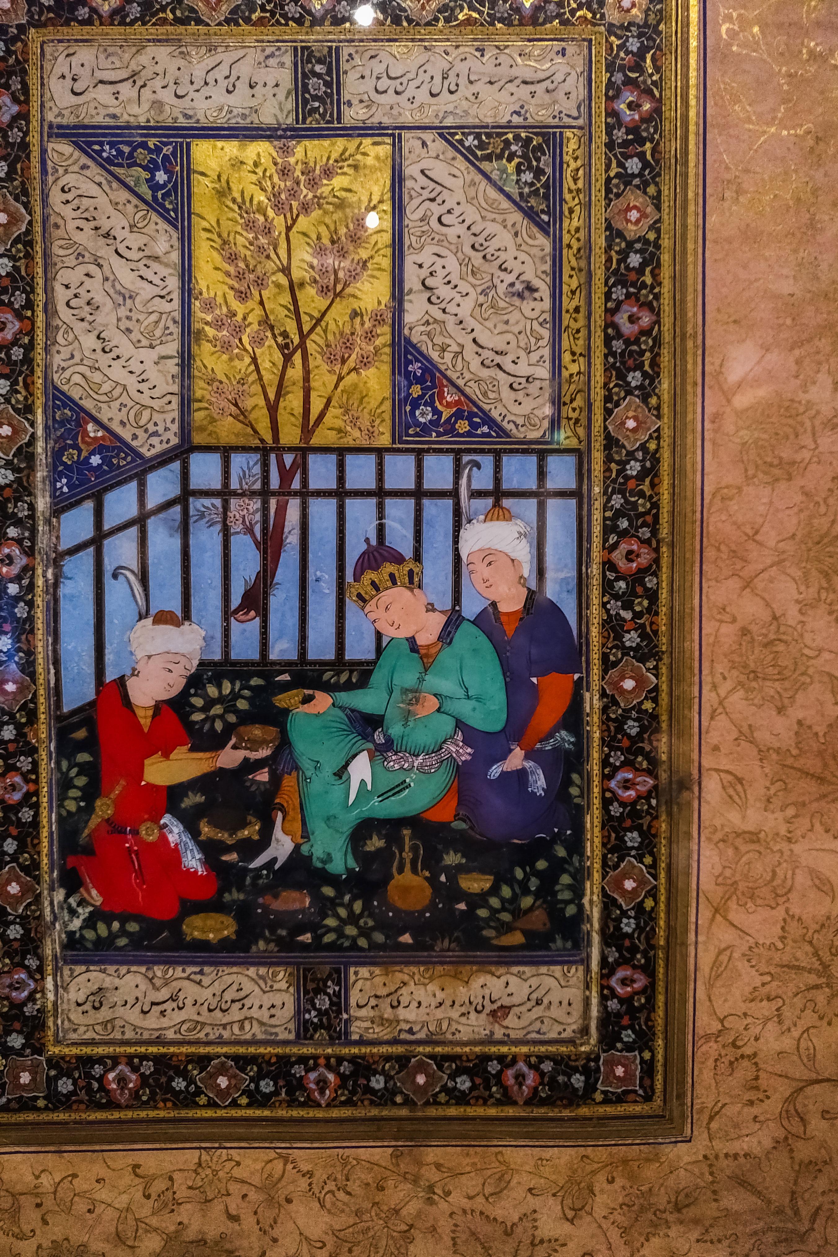 miniature persane avec seigneur essayant ses chaussures