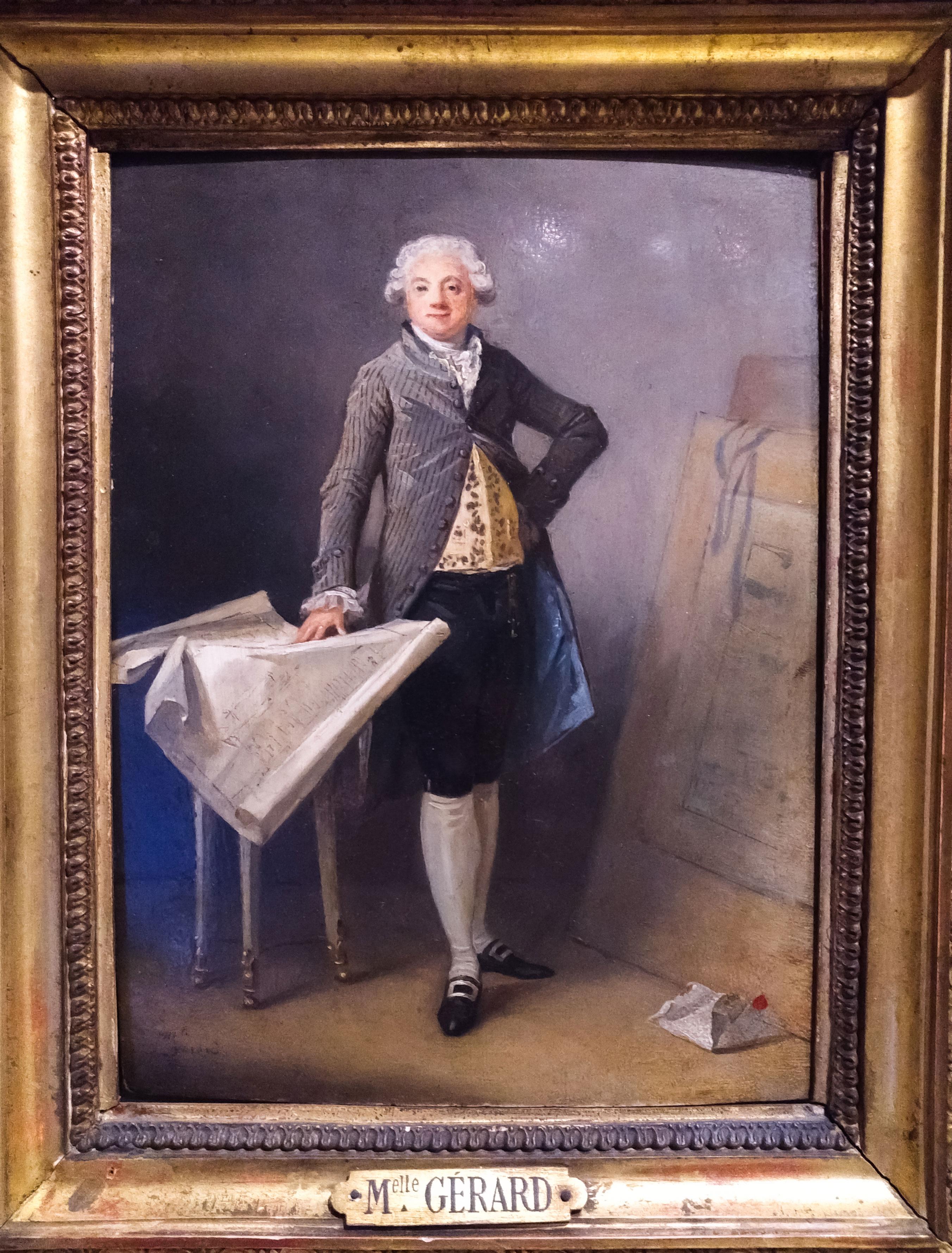 Homme du 18e siècle montrant sa tenue et ses chaussures
