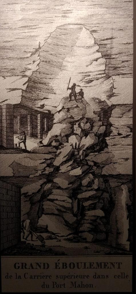 Représentation de l'éboulement de terrain du Port Mahon